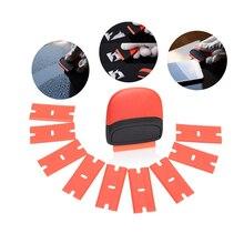 EHDIS Car Vinyl Film Wrap Glass Razor Scraper with 10pcs blade Sticker Remover Squeegee Auto Carbon Fiber Clean Accessories Tool