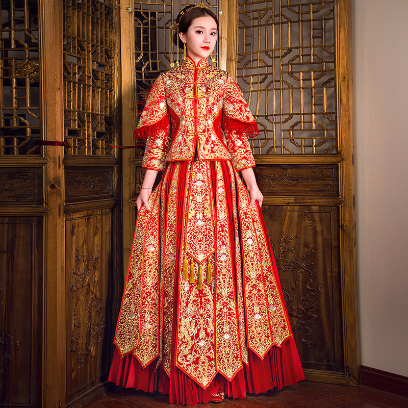Chinese Traditional Cheongsam Suit Lady Dragon Embroidery 2PCS Coat&Skirt New Red Vintage Wedding Dress Elegant Evening Gowns