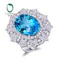 Joyería 18 K Oro Blanco 12.18ct Caimao Topacio y Anillo de Compromiso de Diamantes 0.82ct Naturales Envío Libre