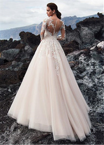Image 4 - Exquisite Tulle Jewel Neckline A line Wedding Dress With Beadings Lace Appliques Long Sleeves Beach Bridal Gowns