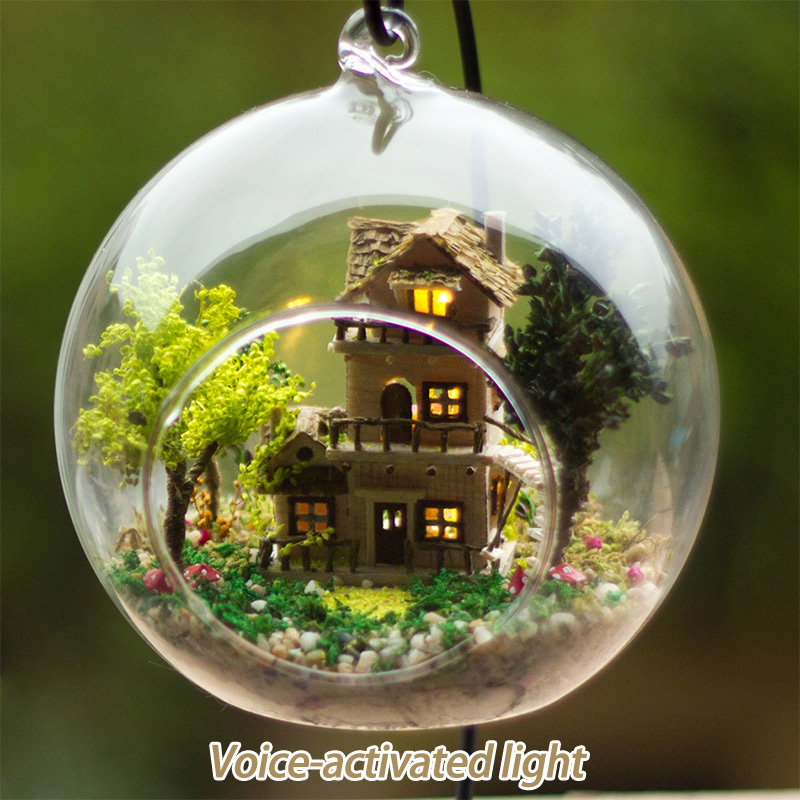 DIY Romantic Glass House 3D Miniature Assemble Mini Norwegian Tree House Building Dollhouse with Funitures toys Christmas Gift image