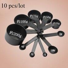 Новое поступление 10 шт./партия черного цвета Пластиковые мерные чашки и мерная ложка лопатка для выпечки Кофе Чай кухонный инструмент LSSJT