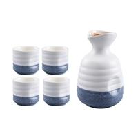 High quality Ceramic wine set inclue 1Pot 4cups,wine cup goblet of Wine home jug white glass suite,Japanese sake set liqueur cup