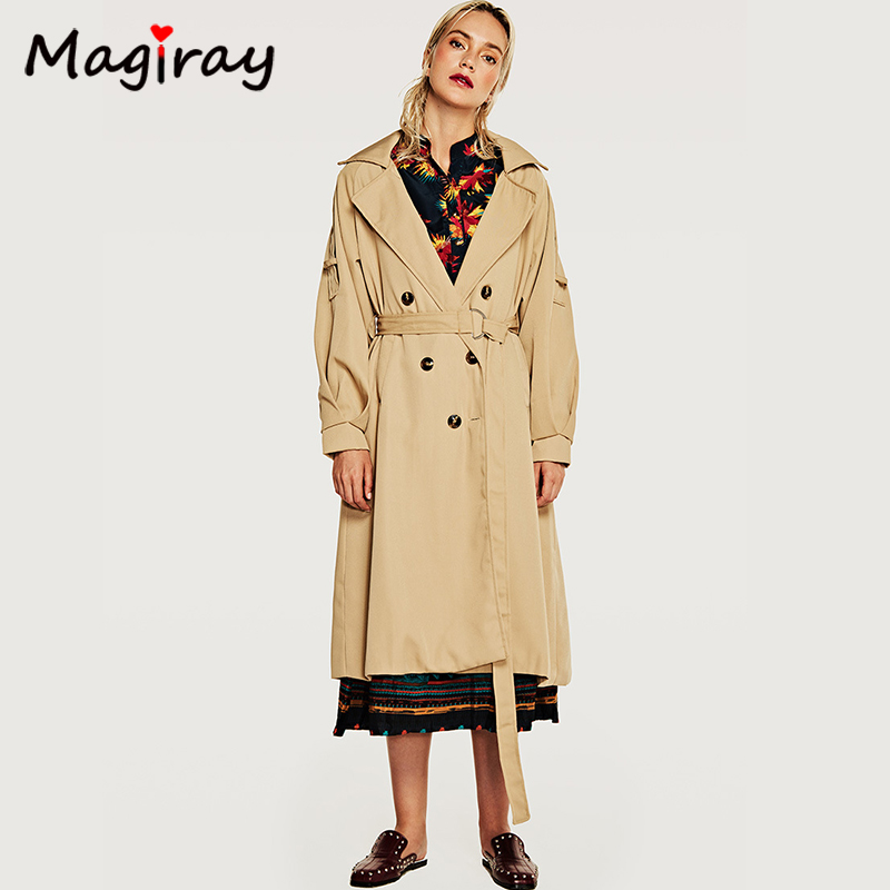 Magiray 2019 Autumn New Long   Trench   Coat Women Spring Causal Classic Double-breasted Lapel Overcoat Loose Office Female Coat 354