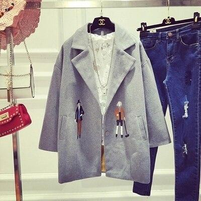 2016 осень новые моды для женщин шерстяное пальто средней длины характер вышивки женщин куртка шинель DX814