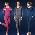 Fashion spring sleepwear women pajamas sets o-neck jacquard long pajama suit floral bodycon women thermal underwear suit female