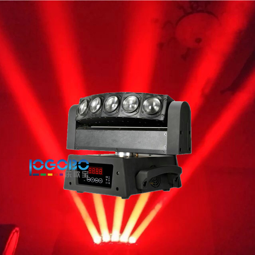 Hot Cheap 5 Eyes LED Moving Head Beam Light 5x10W White / RGBW Club Moves Beam Band Home Party Show DJ Stage Disco DMX Lighting