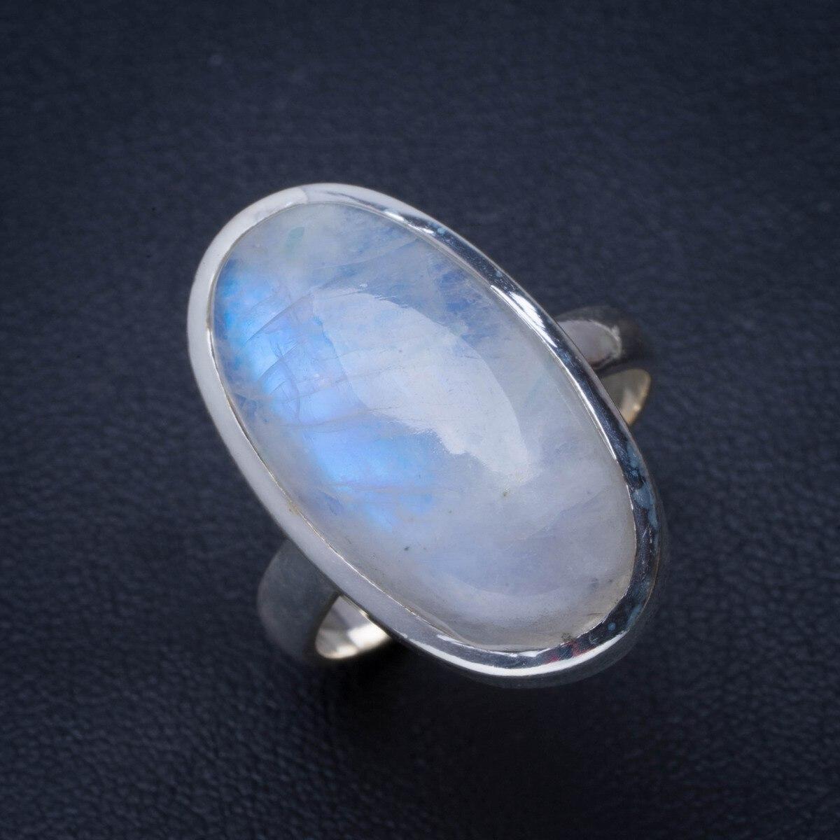 Bague naturelle en argent Sterling 925 fait à la main avec pierre de lune arc-en-ciel 7.75 B1420