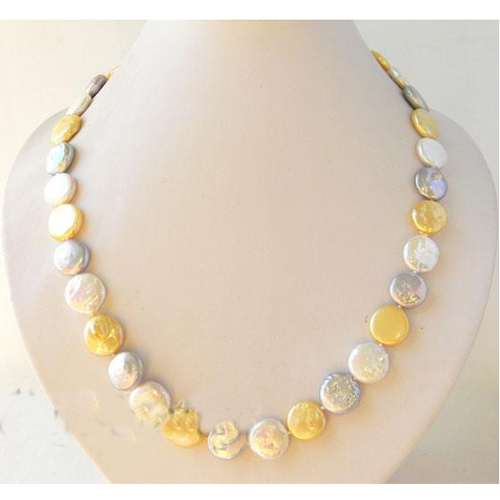 Nouveau Arriver de vrais bijoux en perles, 21 pouces 13-14mm Champagne blanc gris collier de perles d'eau douce, bijoux en perles