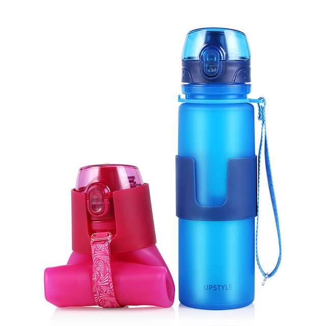 Foldable Water Bottle >> Upstyle Collapsible Foldable Silicone Sports Water Bottle Travel