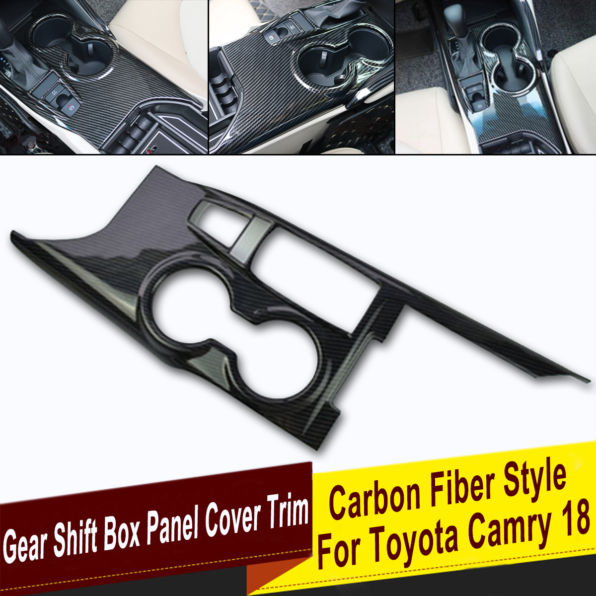 Carbon Fiber Style Interior Center Console Gear Shift Box Panel Cover Trim for Toyota Camry 18 Decorative Car Accessories interior for chevrolet camaro 2016 2017 abs carbon fiber style transmission shift gear panel cover trim 1 piece page 9