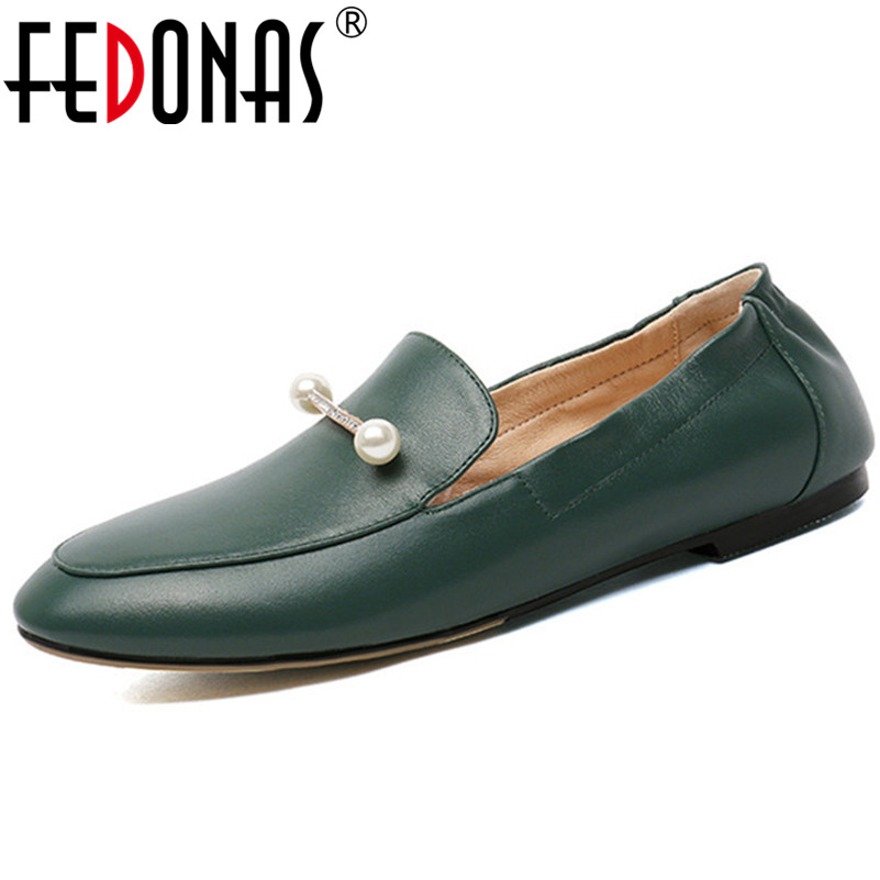 FEDONAS Top Quality Women Flats Genuine Leather Beading Party Shoes Woman Flats Heels Loafters Shoes Fashion