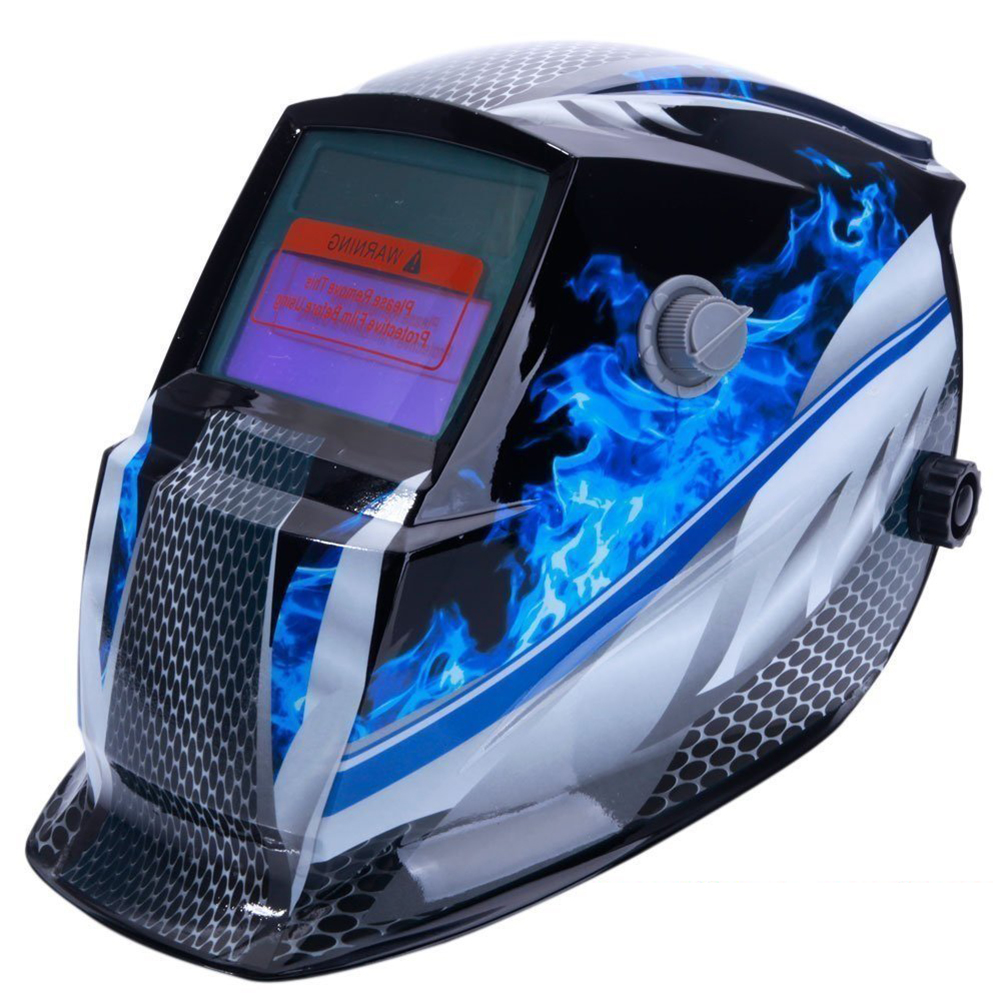 Welding Helmet Mask Solar Auto Darkening,Adjustable Shade Range DIN 9-13/Rest DIN 4,Welder Protective Gear ARC MIG TIG (Blue Rac
