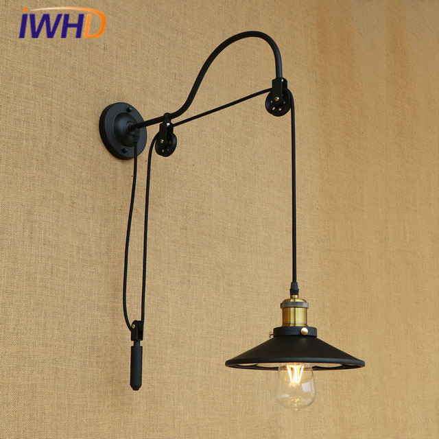 iwhd rh industrielle vintage loft applique murale led lentille poulie mur lampe r tro lit. Black Bedroom Furniture Sets. Home Design Ideas