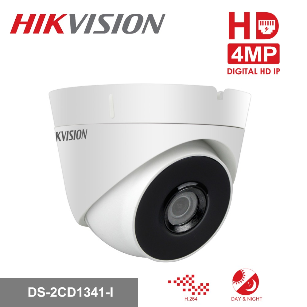 Hikvision Security Camera DS-2CD1341-I 4MP CMOS Network Turret CCTV PoE IP Camera with Night version Replace DS-2CD3345-I in stock hikvision full hd 1080p security ip camera ds 2cd1141 i 4 megapixel cmos cctv dome camera poe replace ds 2cd3145f i