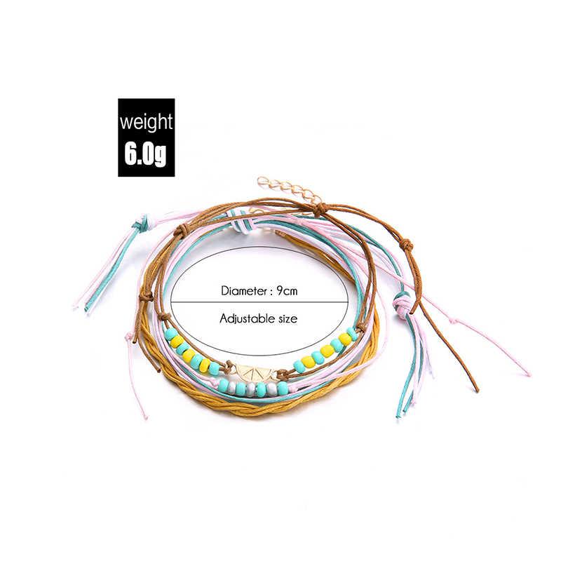 Rinhoo винтажный лимонный браслет на лодыжке, набор ручной работы, богемный хлопок, океан, шарик, веревочный браслет на ногу для женщин, Пляжное украшение на ногу, подарки