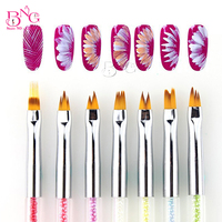 BNG 5pcs Set Dual Ended UV Gel French Nail Brushes Rhinestone Handle Building Painting Drawing Flowers