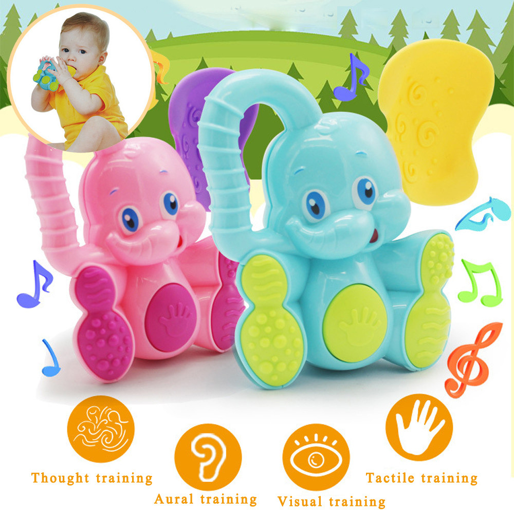 silicone beads baby teether silicone teether Safety Baby toddler toys Teether Hand Shake Bell Ring Funny Educational Elephant