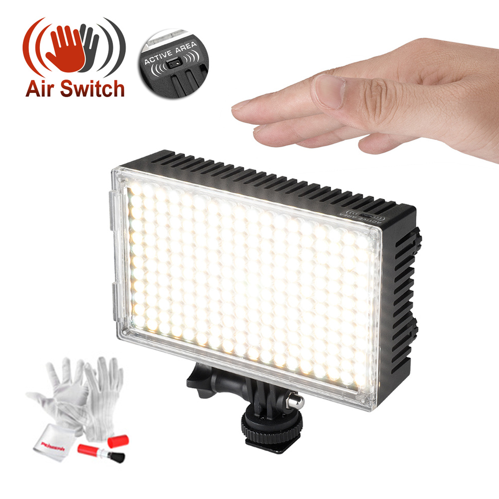 цена Pergear 216 LED Video Light On Camera Photo Sensor Light By Air Switch Dimmable 3200K-5500K with Pergear Cleaning Kit