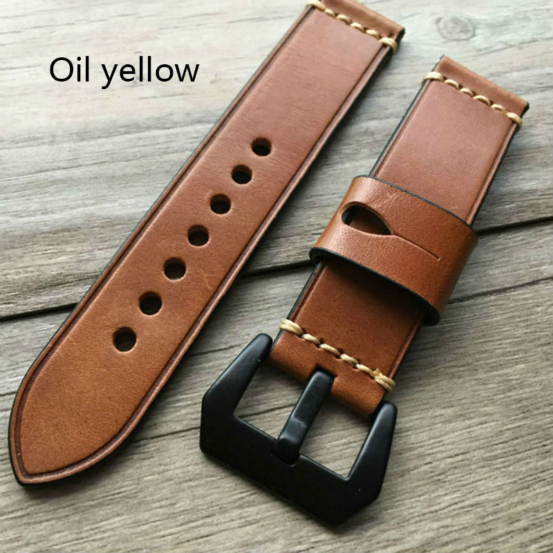 2017 Special hand cowhide strap For Panerai strap 20MM 22MM 24MM 26MM Fashion men and women leather Watchband Yellow green brown luxury cowhide hand strap pu leather