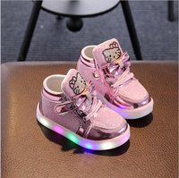 Girls Shoes Baby Fashion Hook Loop LED Shoes Kids Light Up Glowing Sneakers Little Girls Princess