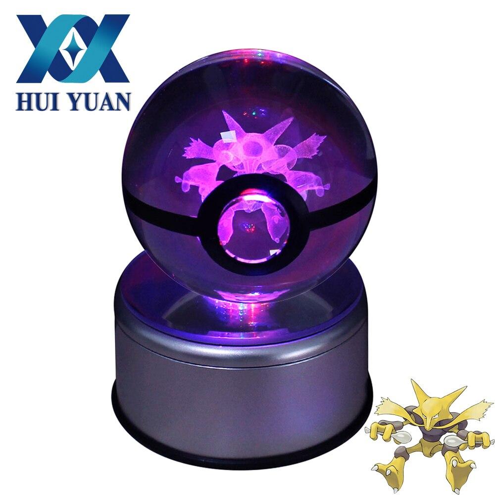 HUI YUAN Alakazam Crystal Ball 8 CM Base Giratória USB & Battery Powered 3D Luz da Noite LEVOU Mesa Lâmpada de Mesa decorações