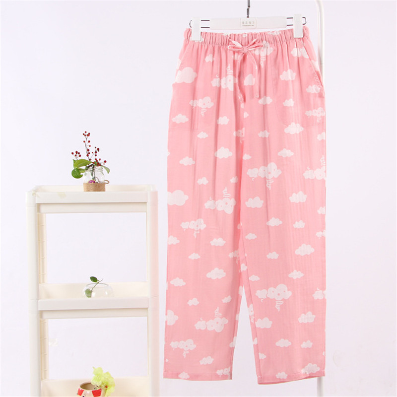 Hoffen Spring Summer Homewear Women Casual Plaid Sleep Pants Cloud Printed Pijama Femme Casual Loose Sleep Bottoms