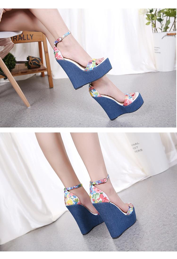 HTB1Fezsc6fguuRjy1zeq6z0KFXaz Eilyken 2019 New Designer Print Denim Sandals Roman Sandals High Quality Wedges High Heels Peep-Toe Platform Shoes Woman
