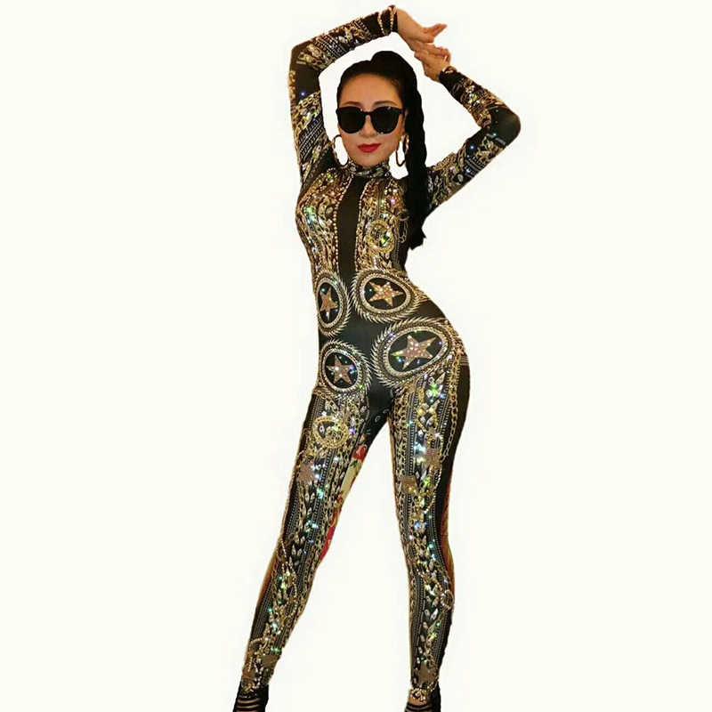 0c180640c800e9 ... Pole Dance Black Crystals Sexy Rhinestone Bodysuit Female Singer DS DJ  Nightclub Performance Rave Clothing Stage ...