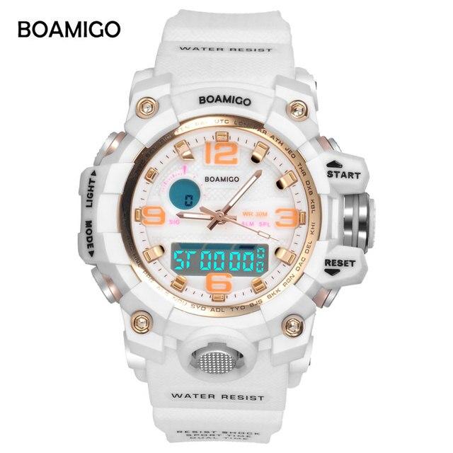 Спорт boamigo бренд Часы Для женщин Спортивные часы модные женские кварцевые наручные Часы белый Плавание цифровой шок часы Relogio feminino