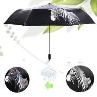 Animal Zebra Printed Folding Umbrellas Color Changing Sun Protection Black Coating Umbrella Cute Men Women Umbrellas