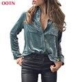 OOTN LDCY001 с длинным рукавом блузка женщины мода твердый поворот вниз воротник бархат blusa с карманными синий топы хлопок зима весна