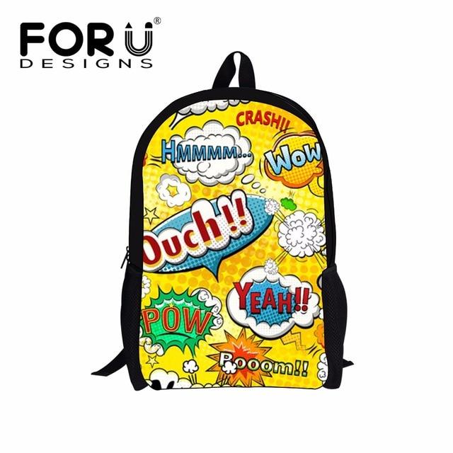 6514745d7e FORUDESIGNS Cool Brand Children Backpacks 3D Funny Cartoon Graffiti Pattern  Kids Bagpacks Travel Double Shoulder Bags