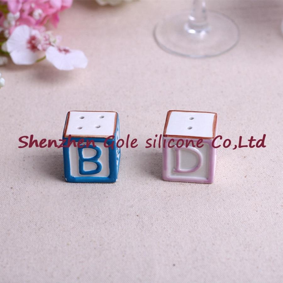(100set=200pcs)+New Baby on the Block Ceramic Baby Blocks Salt and Pepper Shakers ABC Salt&Pepper Shaker