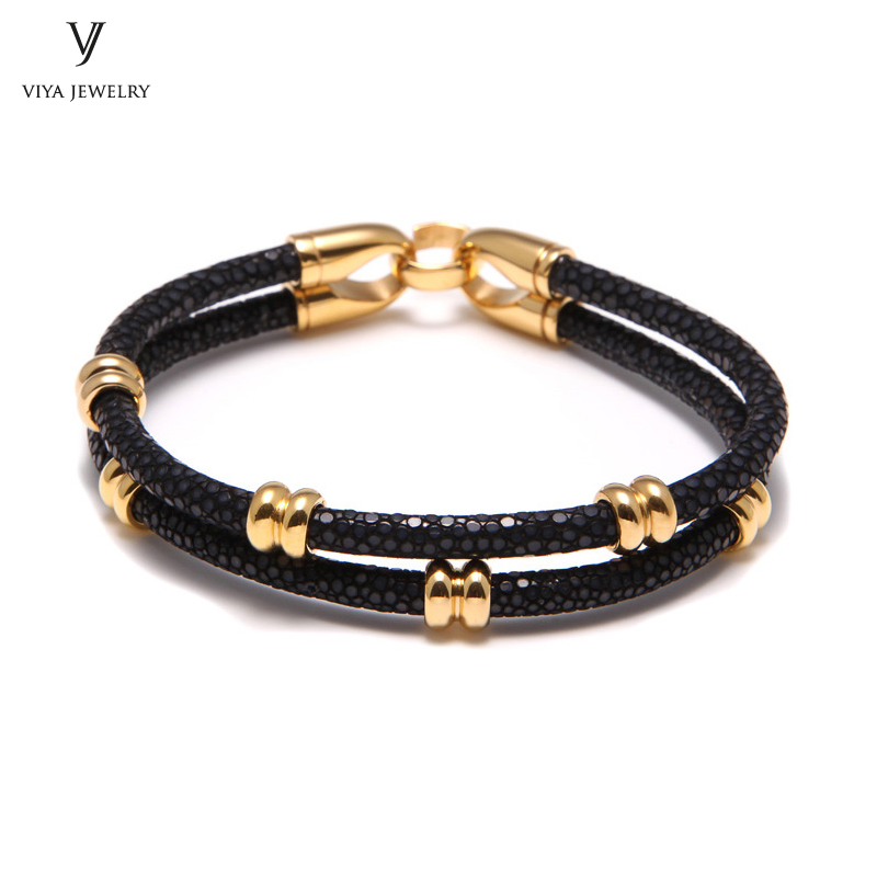 simple beads stingray leather bracelet for men ,couple stingray beads bracelets (4)