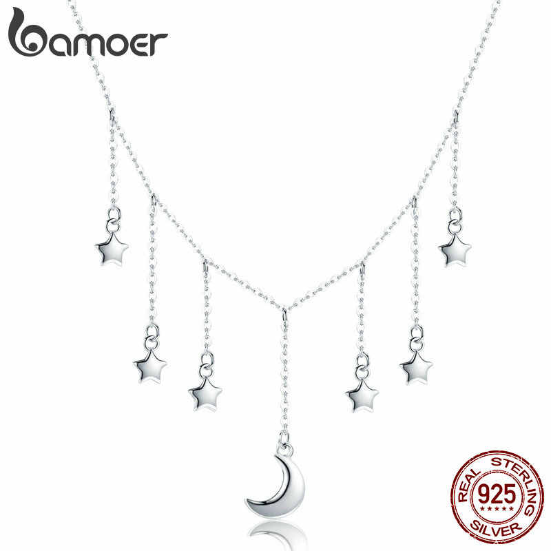 BAMOER Real 925 Sterling Silver Star Chain Sparkling Moon Starry Pendant Necklaces for Women Sterling Silver Jewelry SCN301
