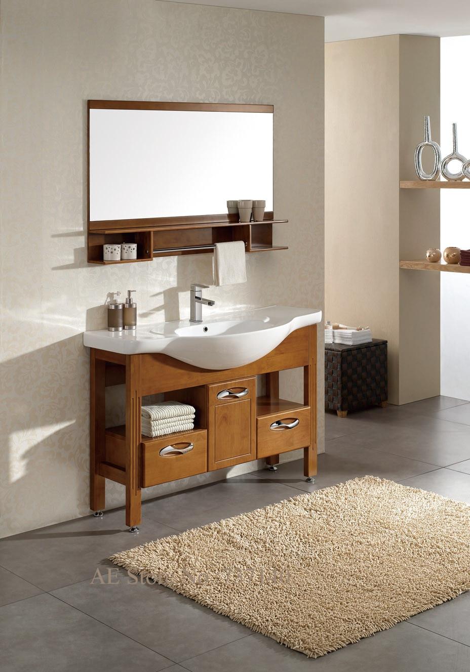 mobile bagno con lavabo in ceramica mobiletto del bagno in legno massello di rovere di alta qualit con scaffale agente di acqui