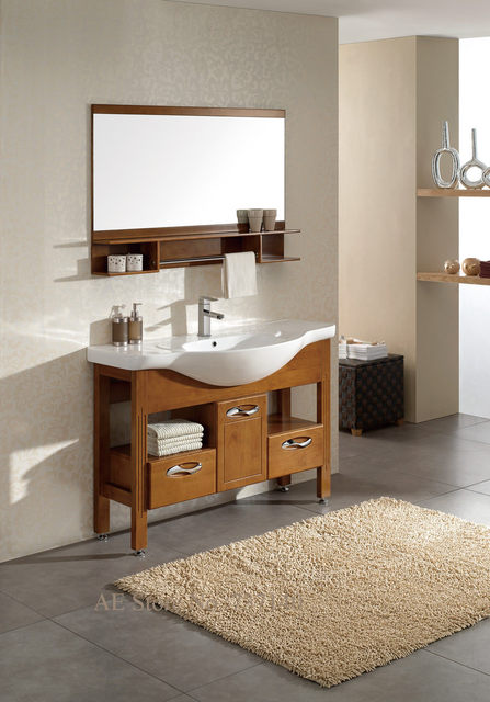 Bathroom Cabinet With Ceramic Sink High Quality Solid Oak Wood Shelf Ing Agent Whole Price