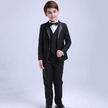 New Kids Boys Suit For Wedding Piano Party Children Boys 4/5Pcs Blazer+Vest+Shirt+Pant+Bowtie Baby Boy Suits Formal Clothes Y84