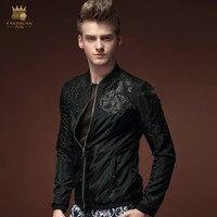 Fanzhuan Бесплатная доставка Новая мода повседневные мужские Для мужчин с длинными рукавами весна тонкий черный пиджак 15113 символов печать на п