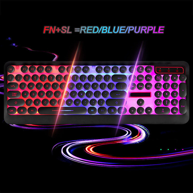 Backlight Russian English Keyboard Retro Round Glowing Keycap Gaming Keyboard three Color USB Wired for Desktop Laptop 4