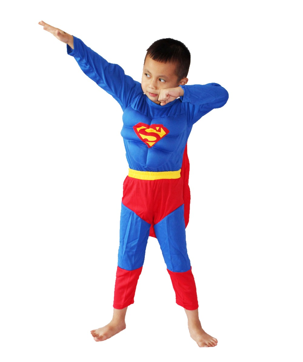 3-7 Years Halloween Party Costumes Children's Muscle Superman Model Clothing Role-playing Clothing,Long-sleeved T-shirt 16812#