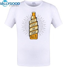Keep Calm and drink beer Cool Print Mens T-shirt Summer Short Sleeve T Shirt Hipster Men Tops Hip Hop Funny Tee Shirts Plus Size