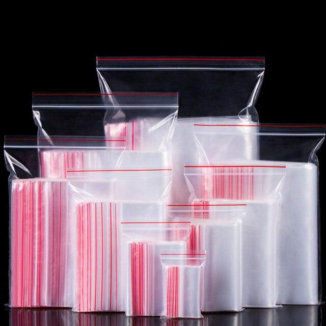 Sacos de armazenamento de alimentos 100 PCS Jóias Ziplock Zip Com Fecho de Bloqueio Reclosable Plastic Bags Poly Limpar
