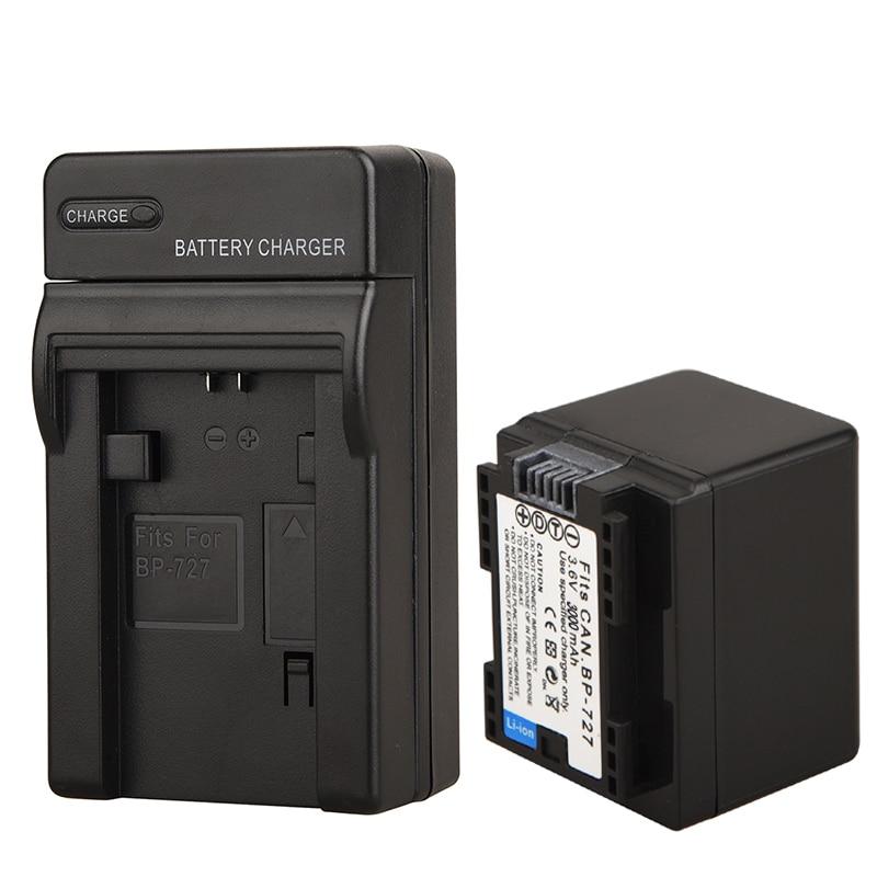 1x3000 mAh BP-727 BP 727 BP727 Batterie + Chargeur pour Canon VIXIA HF R30 M50 M52 500 M56 M506 R36 R38 R306 R400 R500 R600 R60 R62