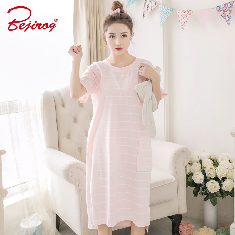 Bejirog women nightgowns short sleeve sexy sleepshirt sleep clothing female nightie cotton pijama summer striped ladies homewear
