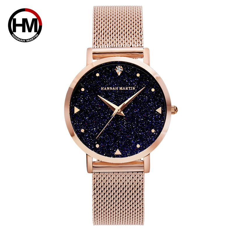 Hannah Martin Luxury Dress Women Watches Rose Gold Star Flash Ladies Watch Bracelet Stainless Steel Wrist Watches For Women duoya 2017 fashion ladies watches women luxury leaf fabric gold wrist for women bracelet vintage sport clock watch christmas gif