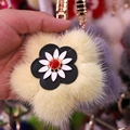 New girl 's mink flowers keychain high quality delicate fur keychains women bag's pendant Romantic cherry blossoms key chains