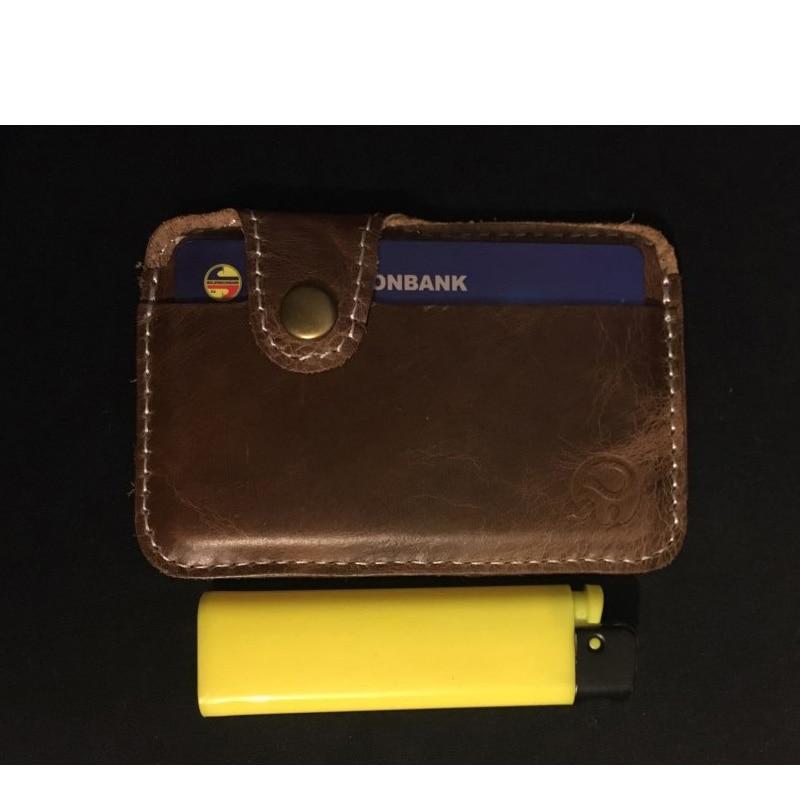 Äkta Läder Card Holder Porte Carte Men Card Id Holders Bankkortet - Plånböcker - Foto 4
