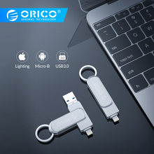ORICO USB Flash Drive 64G 32G 3 IN 1 U disk Lighting Micro B USB3.0 Interface Flash Disk Support For IOS/Andriod/PC Systems(China)